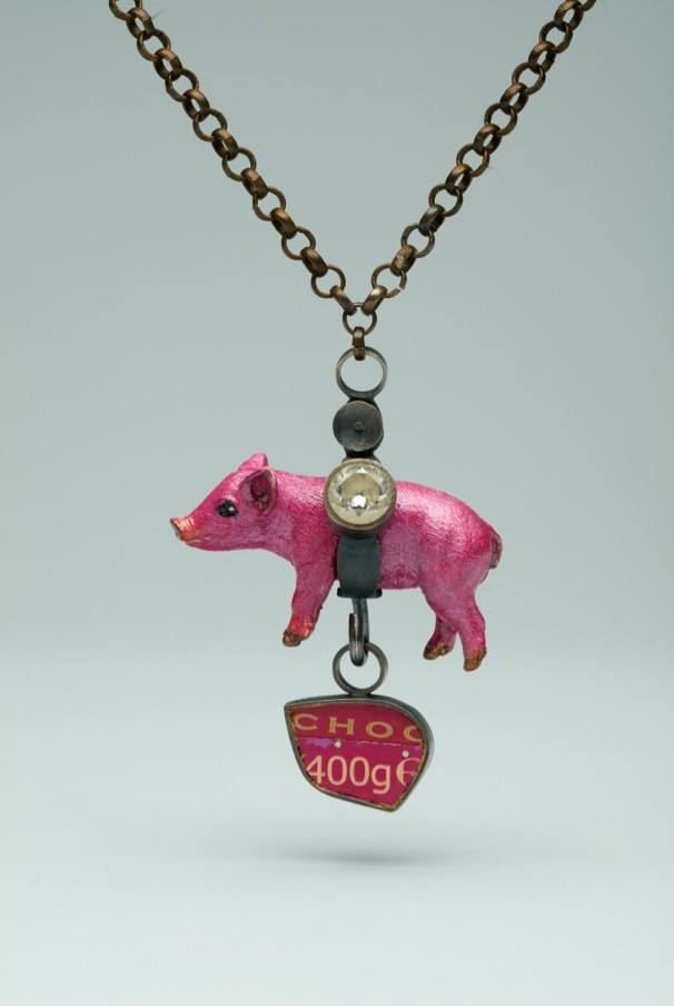Eden Lennox 400gms 2016 925 silver with patina, brass, pre-printed metal, acrylic toy pig, paint, gold leaf, cubic zirconia 29cmx6cm