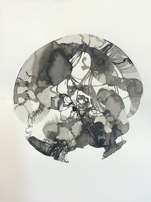Amy Dynan Dad Ink on paper 30x25cm