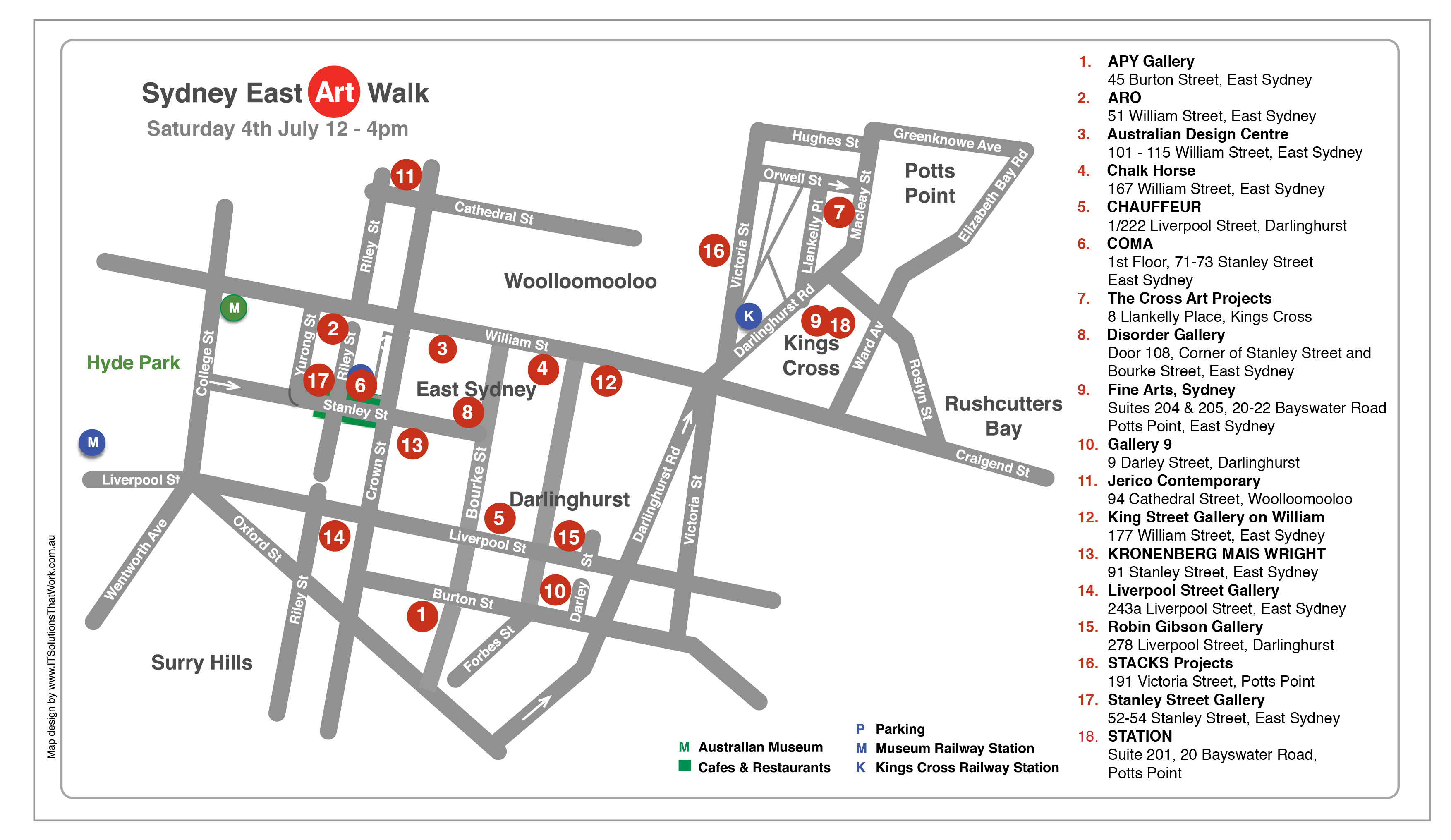 Sydney East Art Walk Map 4 July 2020