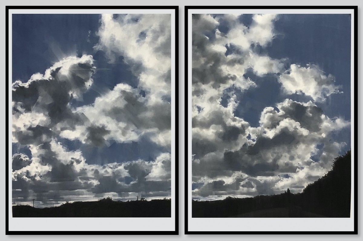 Amy Dynan, Set wide the window diptych, 2020, Soft Pastel on Saunders Waterford hot pressed paper 425gsm, 101x75cm paper dimensions