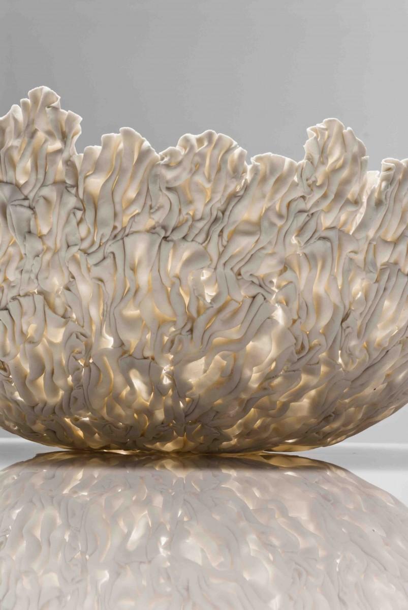 Jo Wood - Coral Bowl 1 - Cool Ice Porcelain - 16cm x 30cm - Photo Greg Piper