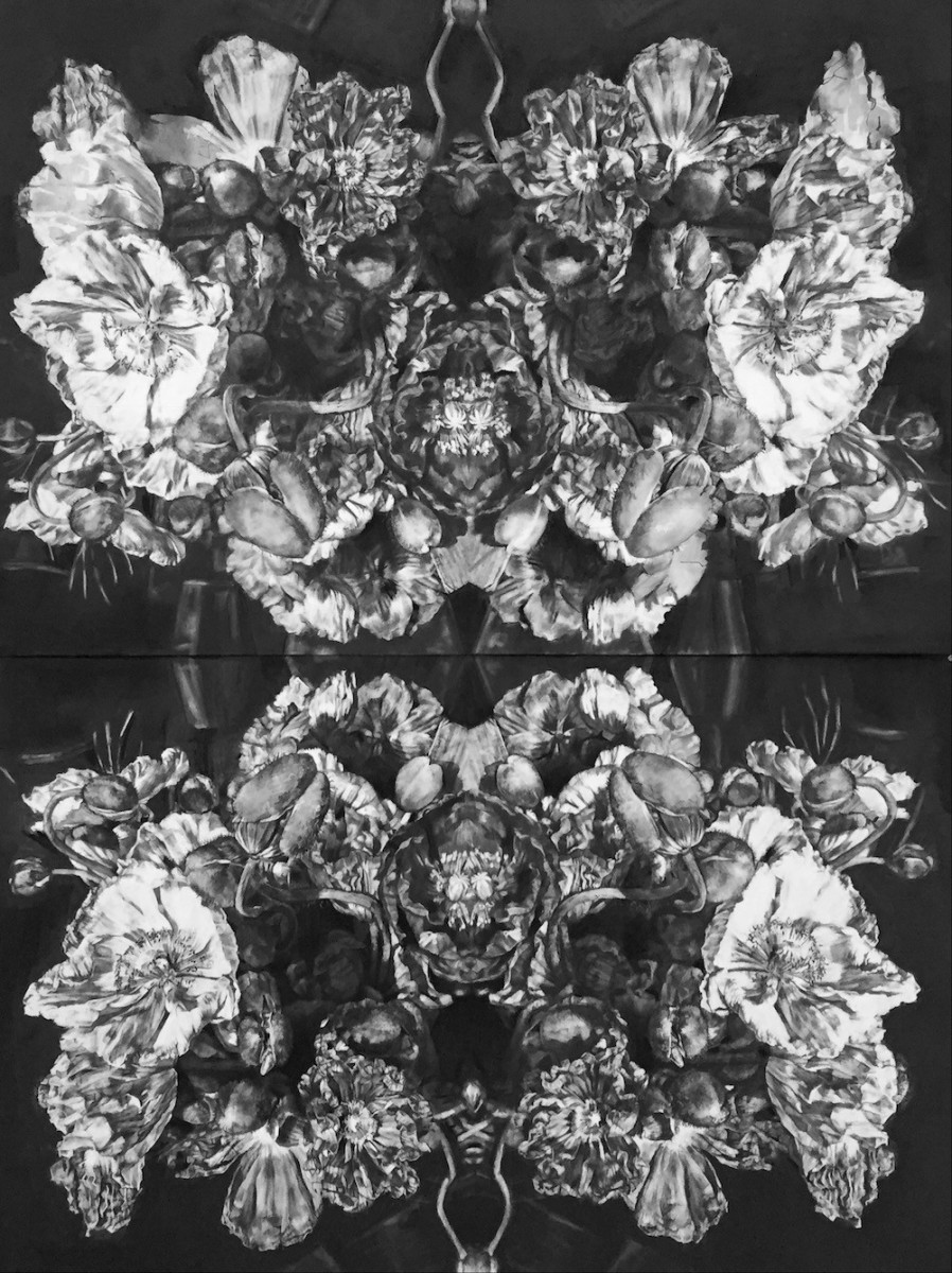 Amy Dynan, Poppies diptych - Stillness in movement, Charcoal on paper 150cmx220cm framed 8,400 or 4,200 each low res