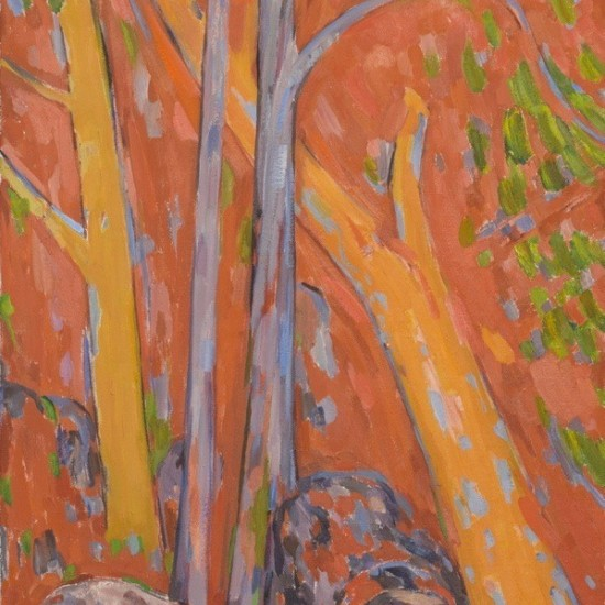 Trees Against an Orange Background