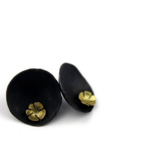 Felix Gill, Earrings Domed, Sterling and 9ct Gold   185
