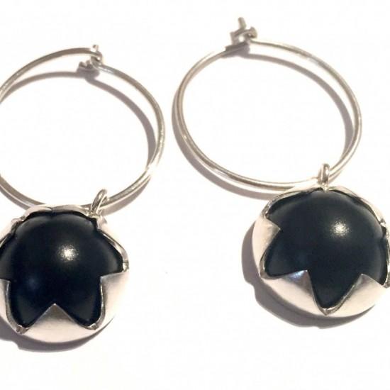 Vicki Mason - Black domed corona hoop earrings