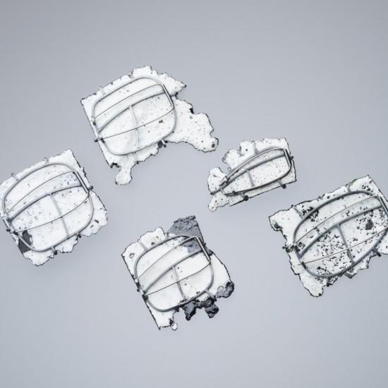 Car wreck brooches (backs)