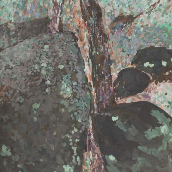 James Barker, Mottled Rock, post 2000, oil on board, framed 103 x 135 cm