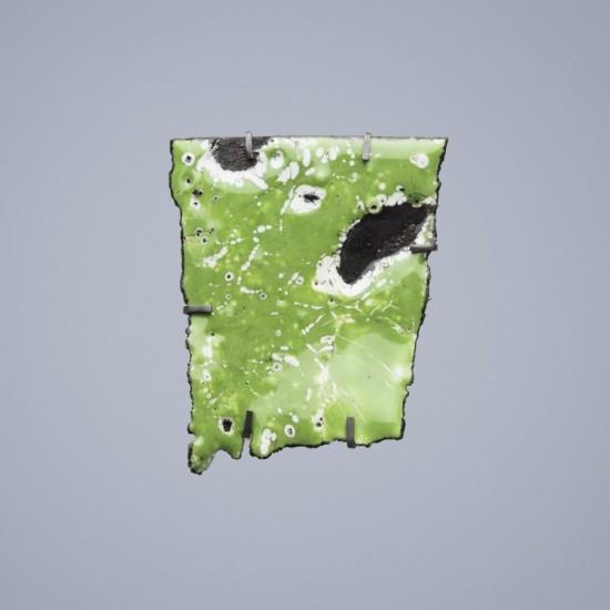 Car Wreck brooch - celadon with black splash