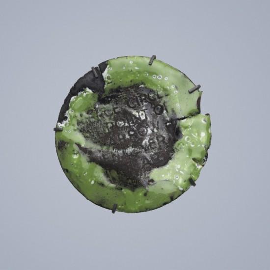 Tin lid (or not a car wreck) brooch - celadon