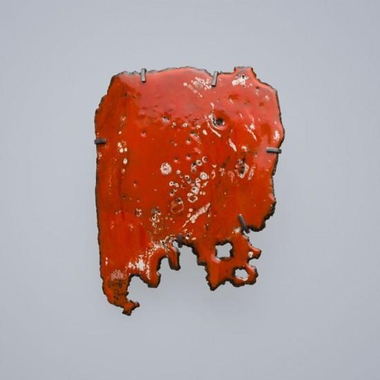 Car wreck brooch, deep orange