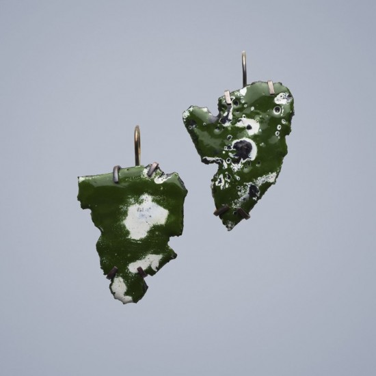 Car wreck earrings, dark green and white