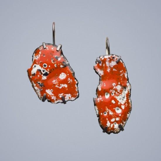 Car wreck earrings, orange and white