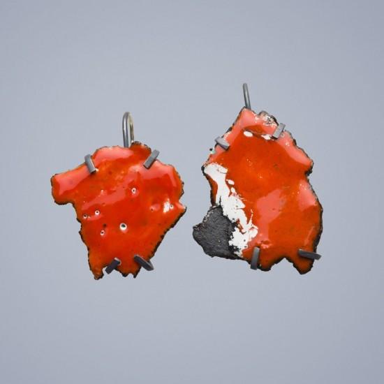 Car wreck earrings, orange