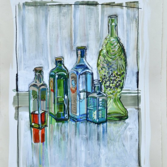 Four Square Bottles and a Fish