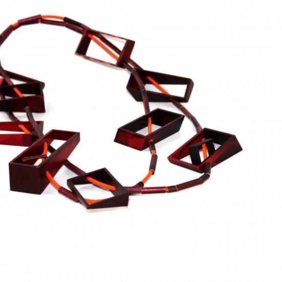 Large Red Rectangle Neckpiece