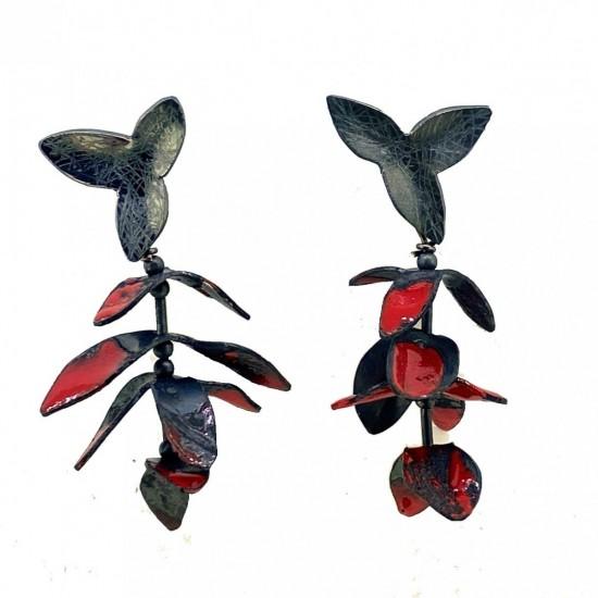 Jenny Fahey, Garland Earrings 3 Red