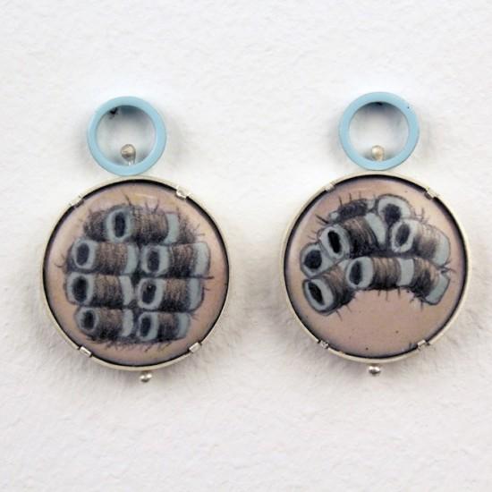 Blue Swivel Curler Earrings